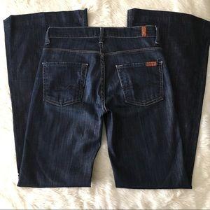 7FAMK Ginger Dark Wash Wide Leg Flare Jeans 25